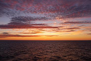 Midnight sun setting over Baltic Sea, Russia, Europe