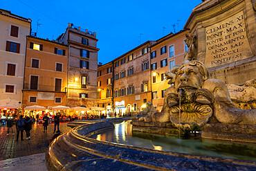 Piazza della Rotunda and water feature near Pantheon, Rome, Lazio, Italy, Europe