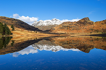 Blea Tarn with mirror reflections, Blea Tarn, Lake District National Park, UNESCO World Heritage Site, Cumbria, England, United Kingdom, Europe
