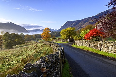 Autumnal scene in Borrowdale, Lake District National Park, UNESCO World Heritage Site, Cumbria, England, United Kingdom, Europe