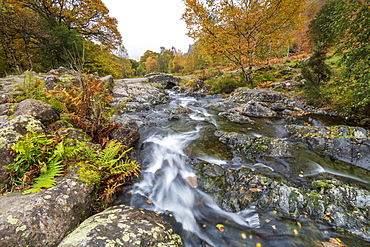 Ashness Bridge and river in autumn, Lake District National Park, UNESCO World Heritage Site, Cumbria, England, United Kingdom, Europe