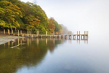 Brandlehow Jetty at Derwentwater, Lake District National Park, UNESCO World Heritage Site, Cumbria, England, United Kingdom, Europe - 1306-713