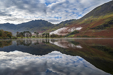 Buttermere reflections in the lake, Lake District National Park, UNESCO World Heritage Site, Cumbria, England, United Kingdom, Europe