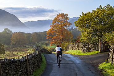 Cyclist riding on lane in autumn, Borrowdale, Lake District National Park, UNESCO World Heritage Site, Cumbria, England, United Kingdom, Europe