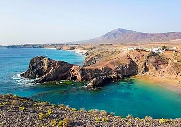 View along coast from cliff top above Playa del Papagayo, Playa Blanca, Yaiza, Lanzarote, Las Palmas Province, Canary Islands, Spain, Atlantic, Europe