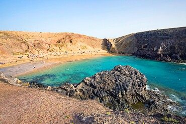 View over Playa del Papagayo from cliff top above the beach, Playa Blanca, Yaiza, Lanzarote, Las Palmas Province, Canary Islands, Spain, Atlantic, Europe