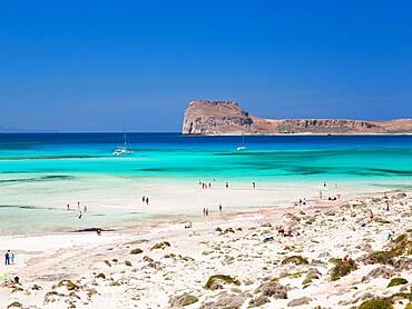 View over Balos Beach to Gramvousa Bay and the island of Imeri Gramvousa, near Kissamos, Hania (Chania), Crete, Greek Islands, Greece, Europe