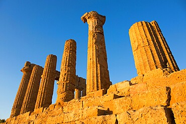 Sandstone columns of the Temple of Hera, aka Juno, in the UNESCO listed Valley of the Temples, sunset, Agrigento, Sicily, Italy