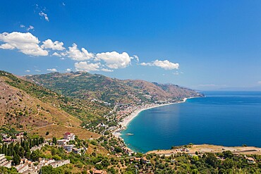 View from the Greek Theatre to the Ionian Sea beach resorts of Mazzeo and Letojanni, Taormina, Messina, Sicily, Italy, Mediterranean, Europe