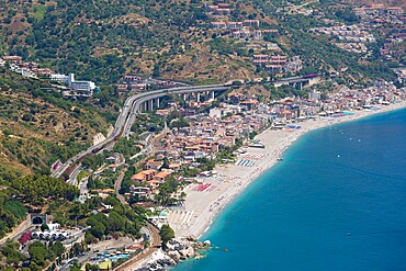 View from the Greek Theatre to the Ionian Sea beach resort of Mazzeo, Taormina, Messina, Sicily, Italy, Mediterranean, Europe