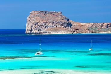 View over Gramvousa Bay to the island and fortress of Imeri Gramvousa, near Kissamos, Hania (Chania), Crete, Greek Islands, Greece, Europe