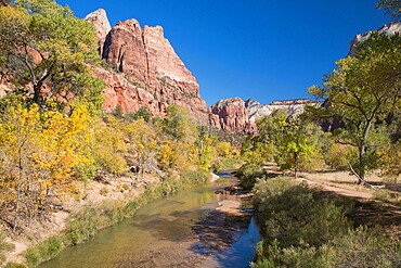 View along the Virgin River to Angels Landing from the Emerald Pools Trail, autumn, Zion National Park, Utah, United States of America, North America