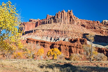 The Castle, an iconic sandstone peak forming part of the Waterpocket Fold, autumn, Fruita, Capitol Reef National Park, Utah, United States of America, North America