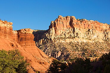 Sandstone cliffs of the Waterpocket Fold towering above Scenic Drive, sunset, Fruita, Capitol Reef National Park, Utah, USA