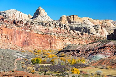 View across valley to the Waterpocket Fold from the Fremont River Trail, autumn, Fruita, Capitol Reef National Park, Utah, United States of America, North America
