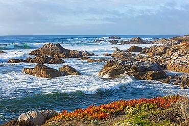 Powerful Pacific Ocean waves battering rocky coastline of the Monterey Peninsula, Pacific Grove, Monterey, California, United States of America, North America