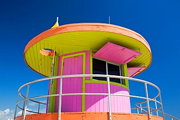 Colourful beach lifeguard station, low angle view, Art Deco Historic District, South Beach, Miami Beach, Florida, United States of America, North America