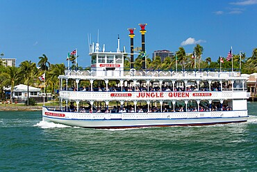 Historic riverboat, the Jungle Queen, cruising along the Intracoastal Waterway, Fort Lauderdale, Florida, United States of America, North America