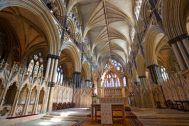 The 14th century Angel Choir and high altar of Lincoln Cathedral, Lincoln, Lincolnshire, England, UK