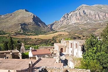 Ruins of the lower Preveli Monastery, Preveli, near Plakias, Rethymno (Rethymnon), Crete, Greek Islands, Greece, Europe