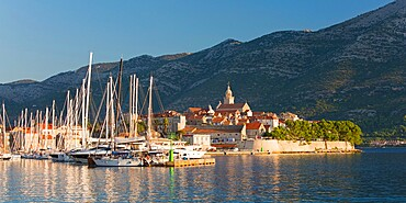 Panoramic view across marina to the Old Town at sunrise, Korcula Town, Korcula, Dubrovnik-Neretva, Dalmatia, Croatia, Europe