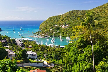 View over the village and harbour to the Caribbean Sea, Marigot Bay, Castries, St. Lucia, Windward Islands, Lesser Antilles, West Indies, Caribbean, Central America