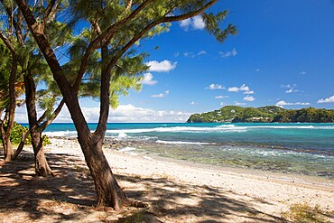 View across the Caribbean Sea from beach, Pigeon Island National Landmark, Gros Islet, St. Lucia, Windward Islands, Lesser Antilles, West Indies, Caribbean, Central America