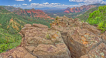 The Craggy Cliffs overlooking Casner Canyon north of Sedona from near the Schnebly Hill Vista, Arizona, United States of America, North America