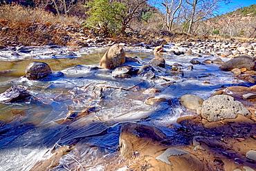 Frozen Creek, Oak Creek in Sedona frozen from winter cold in February 2019, Arizona, United States of America, North America