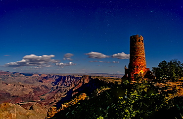 Watch Tower on South Rim of Grand Canyon illuminated by moonlight, Grand Canyon National Park, UNESCO World Heritage Site, Arizona, United States of America, North America