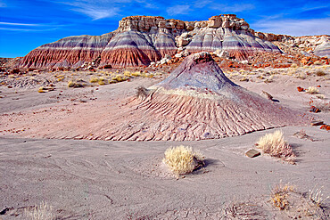 Mounds and cliffs of expansive clay called Bentonite in the Jasper Forest of Petrified Forest National Park, Arizona, United States of America, North America