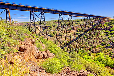 A historic railroad bridge spanning Hell Canyon in Drake, Arizona, United States of America, North America