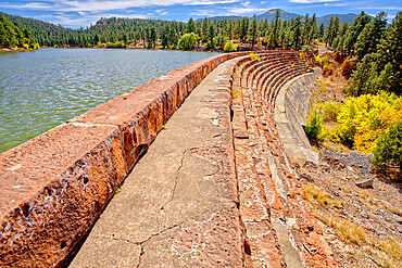 A walkway on top of the Santa Fe Dam in Williams, Arizona, United States of America, North America