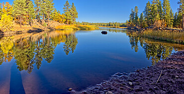 White Horse Lake in the Kaibab National Forest of northern Arizona viewed from its northwest lagoon, Arizona, United States of America, North America