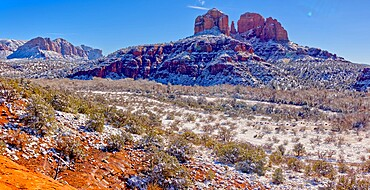 Panorama of Cathedral Rock covered in winter snow and ice, Sedona, Arizona, United States of America, North America