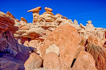 A ridge in the Devil's Playground of crumbling hoodoos that resemble Goblins,Petrified Forest National Park, Arizona, United States of America, North America