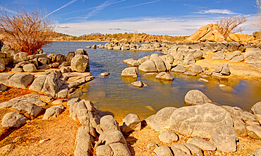 Rocky shore of Watson Lake which has lost much water due to the drought, the gray rock was originally submerged, Arizona, United States of America, North America