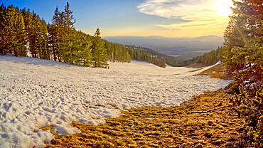 The slopes of Arizona Snow Bowl facing west near sundown. Located in the Coconino National Forest near Flagstaff.