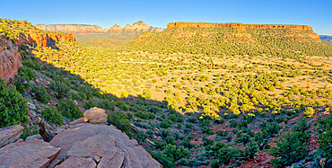 Panorama view of Sedona Arizona from the First Bench of Bear Mountain. To the right of center is Doe Mountain.