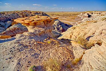 A hoodoo on a cliff along the Blue Mesa in Petrified Forest National Park Arizona shaped like a table top.