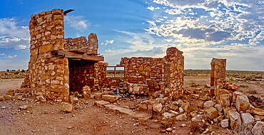 The ghostly remains of an old stone tower in the ghost town of Two Guns, Arizona, United States of America, North America