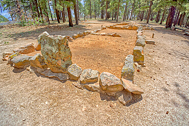 The remains of the Walhalla Indian Ruins near Cape Royal at Grand Canyon North Rim, UNESCO World Heritage Site, Arizona, United States of America, North America