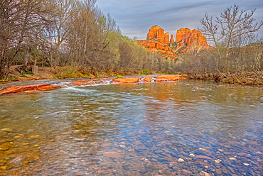View of Cathedral Rock in Sedona from the middle of Oak Creek, Arizona, United States of America, North America