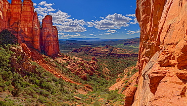 Southwestern view from a cliff in the saddle area of Cathedral Rock, Sedona, Arizona, United States of America, North America