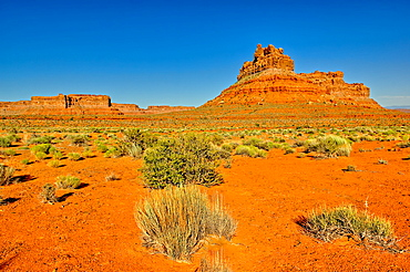 A formation in Valley of the Gods called Battleship Rock, located near the town Mexican Hat, Utah, United States of America, North America