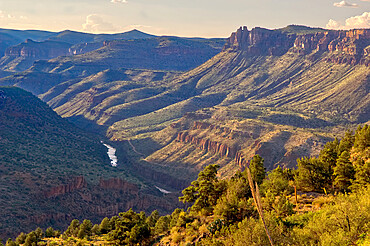 The Salt River Canyon north of Globe AZ. Haze in the air is smoke from a wildfire in the area.