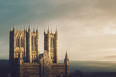 Lincoln Cathedral standing proud whilst being repaired, Lincoln, Lincolnshire, England, United Kingdom, Europe