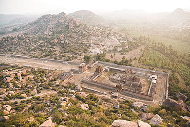 A view of Achyutaraya Temple at sunrise, Hampi, UNESCO World Heritage Site, Karnataka, India, Asia