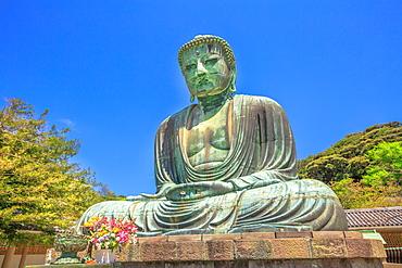 Big Buddha (Daibutsu), one of the largest bronze statue of Buddha Vairocana, Kotoku-in Buddhist Temple in Kamakura, Japan, Asia