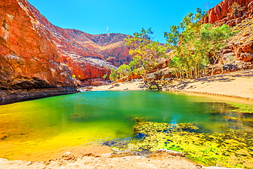 Landscape of Ormiston Gorge Water Hole with ghost gum in West MacDonnell Ranges, Northern Territory, Australia, Pacific